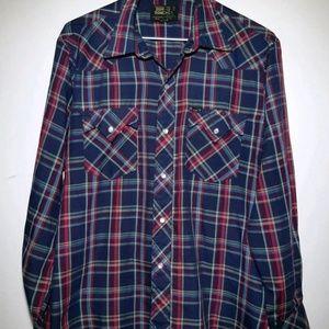 Bar M Rancher Button Down Plaid Shirt Long Sleeve